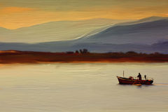 Classical Oil Painting of Fisherman on Canvas stock photography