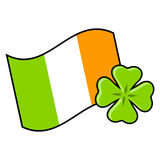 Irish flag. With four leaf clover over white Royalty Free Stock Image