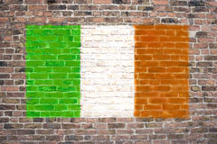 Irish flag. Sprayed on brick wall stock photos