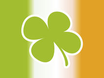 Irish flag. With green shamrock stock photos