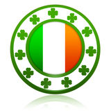 Irish flag in circle with shamrocks Royalty Free Stock Images
