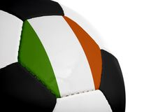 Irish Flag - Football. Irish flag painted/projected onto a football (soccer ball). Isolated on a white background stock photo