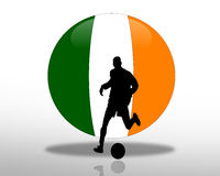 Irish flag Football Soccer Logo. 3D Flag of Ireland ball with silhouetted Soccer or Football player for logo or icon Royalty Free Stock Image
