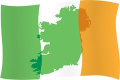 Irish flag & map of Ireland Stock Photography
