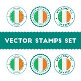 Irish flag rubber stamps set. National flags grunge stamps. Country round badges collection Stock Photography