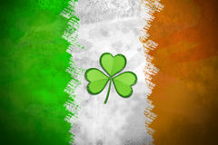 Irish Flag with Shamrock. Distressed Irish Flag Background - St Patrick`s Day stock photos