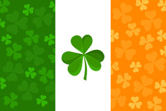 Irish flag with shamrock pattern. Vector. Stock Photo