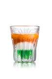 Irish flag shot. Irish flag alcoholic cocktail in shot glass (shooter stock photo