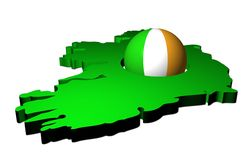 Irish flag sphere with map Royalty Free Stock Images