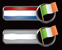 Irish flag on striped checkered banners Stock Photo
