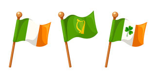 Irish flags isolated on white. Vector illustration. Stock Photo