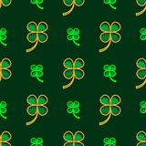 Irish four leaf lucky clovers background for Happy St. Patrick s Day. seamless pattern. Irish four leaf lucky clovers background for Happy St. Patrick s Day. EPS Royalty Free Stock Image
