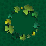 Irish four leaf lucky clovers background for Happy St. Patrick's Day. Background of St Patrick Day vector illustration Royalty Free Stock Photos