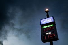 Irish Gas Station. Petrol station sign at dusk Royalty Free Stock Image
