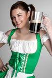 Irish Girl. Happy irish girl with beer Stock Photography