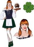 Irish girl with Beer Stock Image