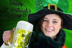 Irish girl holding beer Stock Image