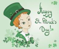 Irish girl leprechaun vector illustration