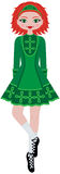 Irish Girl Step Dancer. An Irish Step Dancer girl in a green dress and soft shoes. She has red hair and green eyes Stock Photography
