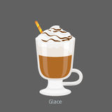 Irish Glass Mug with Coffee Glace Flat Vector. Irish glass mug with straw filled cold glace flat vector. Chilled invigorating drink with caffeine. Coffee with stock illustration