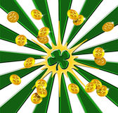 Irish Gold. St. Patrick's Day gold coins scattering outward from a shamrock Stock Photo