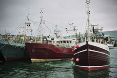 Irish harbour and fishing trawlers Stock Image