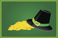 Irish hat and pile of gold coins Stock Images