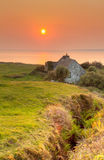 Irish house at sunset in Doolin Royalty Free Stock Photo