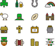 Irish icon set. Colorful drawing set of Irish or Ireland icons Royalty Free Stock Photography
