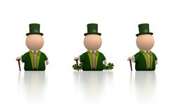 Irish icon for St Patricks day - white version. Little icon person in 3 different poses. Irish colors and clover for Saint Patricks Day Royalty Free Stock Photo
