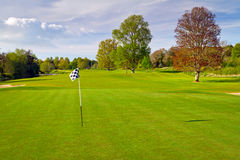 Irish idyllic golf course. With flag Royalty Free Stock Photo