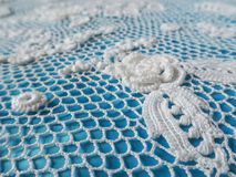 Irish lace crochet. The elements of white knitted dress. Royalty Free Stock Images
