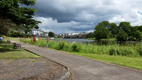 Irish lake in Enniskillen. Cloudy day in holiday resort royalty free stock photography