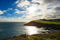 Irish landscape. coastline atlantic coast County Cork, Ireland. Irish landscape. Coastline atlantic ocean coast scenery cloudy blue sky, Church Bay County Cork Stock Photos
