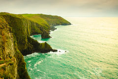 Irish landscape. Coastline atlantic ocean coast scenery. Stock Photos