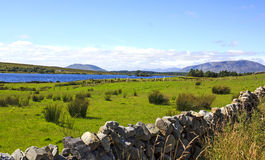 Irish landscape. Kerry, western Ireland. Landscape over a lake with green field and traditional limestone wall on the foreground stock photos