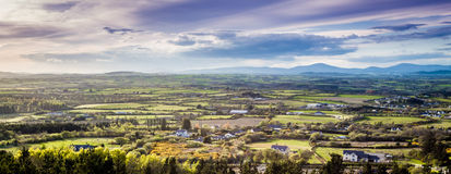 Irish Landscape. View from Fort Mountain, County wexford in the South East of Ireland at Sunset. Taking in spectacular views of the surrounding counties Stock Images