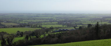 Irish landscapes. View of the of fields and farms in the irish countryside Stock Photo