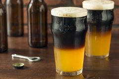 Irish Layered Black and Tan Beer. With Lager and Stought Royalty Free Stock Image