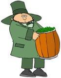 Irish leprechaun carrying a barrel full of clovers. Illustration of an Irish leprechaun carrying a barrel full of green four leak clovers royalty free illustration
