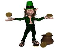 Irish Leprechaun with coins and a pot of gold Stock Image