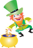 Irish Leprechaun with crock of gold. A mischevious Irish Leprechauncelebrating Saint Patrick's by dancing a jig and throwing gold coins into a pot Royalty Free Stock Image