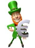 Irish leprechaun with an euro Stock Image