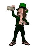 Irish Leprechaun holding empty tankard. Digital render of a drunken leprechaun looking into an empty tankard for St. Patrick's Day Royalty Free Stock Image