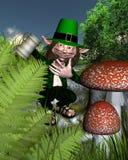 Irish Leprechaun holding a tankard. Drunken Irish leprechaun sitting on grassy steps with a tankard for St. Patrick's Day, 3d digitally rendered illustration Stock Photography