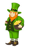 Irish leprechaun with pot of gold and pipe. Vector illustration. Royalty Free Stock Images