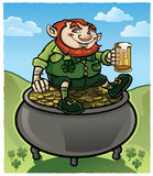 Leprechaun sitting on Gold Royalty Free Stock Photography