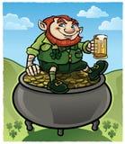 Leprechaun sitting on Gold. An Irish Leprechaun sitting on a pot of gold drinking a beer Royalty Free Stock Photography