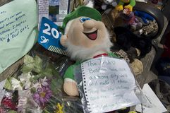The Irish Love Boston. Boston, Massachusetts USA - April 2013 - A stuffed Irish leprechaun with note pinned to chest reading The Irish love Boston Royalty Free Stock Image