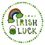 Irish Luck Logo with Rainbow and Pot of Gold. In Circle frame of clover. Stock Photos